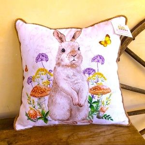 EASTER PILLOW Cute Bunny Rabbit In Flowers NEW!!!